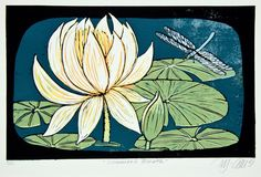 You know that hovering moment, in summer, all you can hear is the buzz of insect wings and the smell of green, that lovely suspended moment in time, where you just relish the summers breath. WHAT IS A LINOCUT?: A handprinted 7 color linocut reduction print, reduction means that as I am printing the very short edition of 12 prints, I cut away areas to keep the color I just printed. You can join over 60.000 viewers on Youtube, to see how a reduction print is made and printed by me, go to…