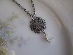 "vintage moonstone jewelry | Vintage Opal Moonstone Jewel with Filigree on 18"" ... | My Jewelry Sh ..."