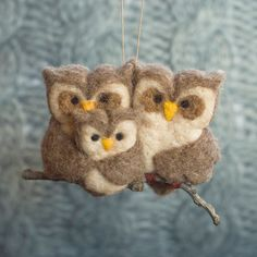 Needle Felted Owl Ornament  Family of Three by scratchcraft, $38.00