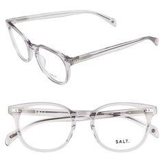 SALT 'Quint' 51mm Optical Glasses ($340) ❤ liked on Polyvore featuring accessories, eyewear, eyeglasses, smokey grey, acetate glasses, lens glasses, polka dot eyeglasses, polka dot glasses and keyhole glasses