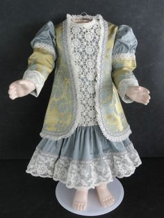 "French Doll Dress Antique Style for Jumeau Bru 24 26""Doll Made in France 