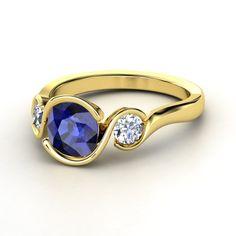 Cushion Sapphire 14K Yellow Gold Ring with Diamond | Hurricane Ring | Gemvara