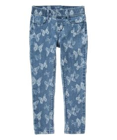 Another great find on #zulily! Denim Butterfly Woven Pants - Girls #zulilyfinds
