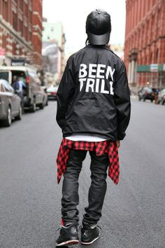 Been Trill coach jacket. Red flannel. Black wax jeans. Jordan black cement 4s. Leather cap
