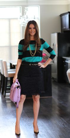 Dress down a lace skirt with a striped top.