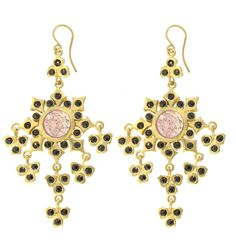 Spanish Armada Earring with Pink Sapphire and Black Diamonds