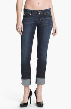 Free shipping and returns on Hudson Jeans 'Ginny' Crop Stretch Jeans (Stella) at Nordstrom.com. Signature back flap pockets style cropped jeans designed with slim and straight legs that finish in tacked cuffs for a casual look. Whiskering and fading at the thighs soften the dark wash.