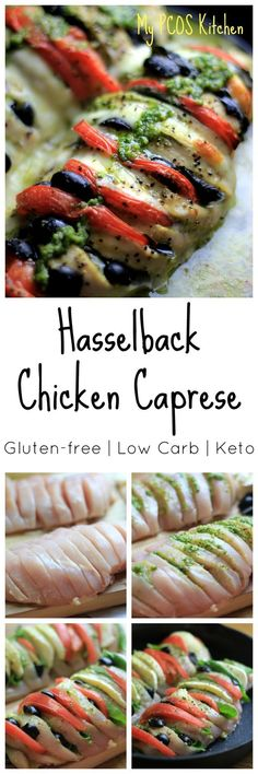 - Hasselback Chicken Caprese - chicken breast sliced and stuffed with mozzarella, pesto, tomato, basil and olives -
