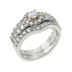 Delia's Round Cut Imitation Diamond Engagement Ring Set