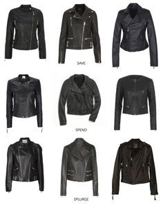 Every girl needs their own black leather jacket. They're sexy and stylish but lots of utility. I'm feeling the one in the top right