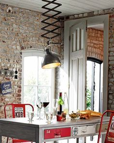 parisian chic interiors | ... truly makes a design statement in this industrial style dining area