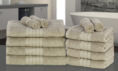 Groupon Goods Global GmbH: 12-Piece Towel Bales in Choice of Colour for £26.99 With Free Delivery (55% Off)