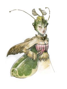 Tony DiTerlizzi, Watercolor study of a Moth-Winged Orchid Sprite, 2012.
