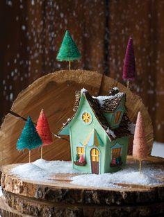 Vintage putz style Glitter Village from Glitterville's Handmade Christmas. DIY. Crafting.