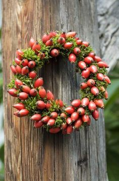 WREATH *THE GREEN GARDEN GATE*: DECORATIONS WITH ROSE HIPS