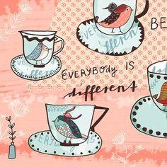 Some tea cups with birds  #bedifferent #birdillustration #homedecor #teacup