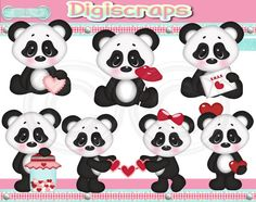 Valentines Panda Love digital Clip Art Set  by Digiscrapsau, $2.00