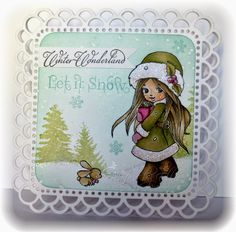 My Creative Moments: Let is Snow  Whimsy Stamps - Snow Bunny and Christmas Scene Builder