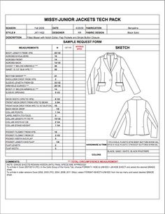 Missy/Junior Spec Sheet Sample - Womens, Mens, Childrens & Plus Size Apparel Tech Pack Templates in Excel format - only $29.95!