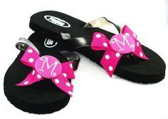 Hot Pink Polka Dot Ribbon Monogrammed Button Flip Flops
