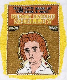 Percy Bysshe Shelley/Embroidery/8.5 Inches x 10 Inches/2008 michaelaaronmcallister.com