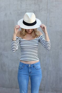 Off The Shoulder top outfit, Panama hat, stripes - simply sutter @shopather