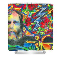 Shower Curtains - Brent Mydland ONE Shower Curtain by Kevin J Cooper Artwork