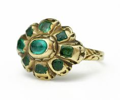 Gold and emerald cluster ring. Spain, 17th century