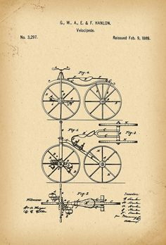 1869 Patent Velocipede Bicycle history invention by Khokhloma