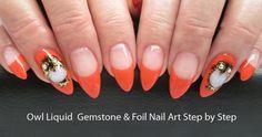 Owl Gemstone Gel Nail Art Step by Step - featuring Aurum One Component Resin | LCN Canada