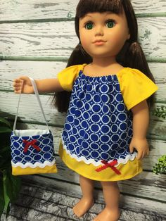 18 Doll Dress and Purse Blue Yellow and by sassydollcreations