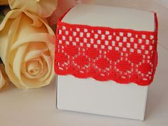 1 mtr x 3cm Width Red Lace - Perfect for Wedding Invitations or bomboniere boxes! - Hall Occasions