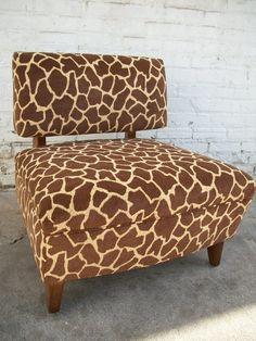 giraffe print chair for the playroom