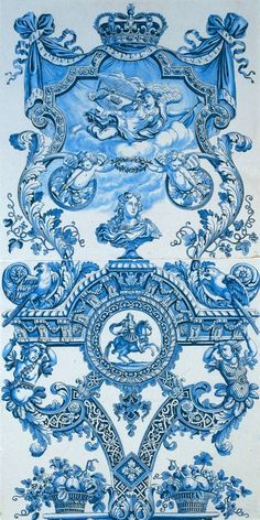 Faience painted with blue c. 1690 These two large tiles celebrate the Stadholder-King, William III. A crowned curtain, tied at the corners, forms the background of a reclining figure. Blue C, Love Blue, Blue And White, Chinoiserie, Motif Arabesque, Le Grand Bleu, Portugal, Equestrian Statue, Portuguese Tiles