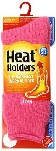 Women's Athletic Socks - Heat Holders Thermal Socks Womens Original US Shoe Size 59 Pink * Want to know more, click on the image.