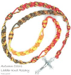 Ladder Knot Cord Rosaries, an advanced knotted cord rosary using the ladder knot technique. this ladder knot rosary made with Autumn colors size #36 twine. This rosary also incorporates the scrap-twine method, as see by the alternating decade colors.