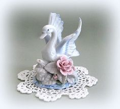 White Swan Decor Ceramic Swan Figurine Ceramic by afloralaffair