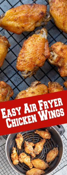 Easy air fryer chicken wings, simple and quick snack perfect for movie/game nights. #airfryerchickenwings