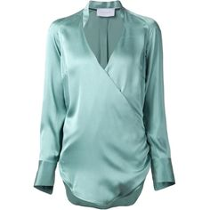 Strateas Carlucci cross over front blouse featuring polyvore, fashion, clothing, tops, blouses, green, green silk top, long sleeve tops, green long sleeve blouse, silk top and long sleeve silk blouse