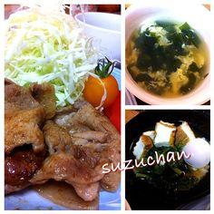 昨日の晩ご飯 - 12件のもぐもぐ - 豚の醤油麹生姜焼き、玉子わかめスープ、絹あげと小松菜の炊いたん by suzuchan