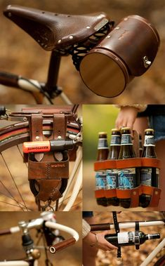 Great way to transport beverage! Holiday Gift Guide For Him - Rad Bike Gear Bici Retro, Velo Retro, Velo Vintage, Vintage Bicycles, Course Vintage, Crea Cuir, Gift Guide For Him, Urban Bike, Bike Bag