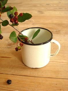 Soviet Vintage Enamel Mug Retro Coffee Cup by GrandpasTreasury, $12.00