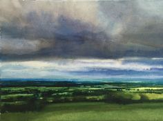 'All green. with some blue' by David Parfitt RI - Watercolour on… Watercolor Landscape Paintings, Watercolor Artwork, Watercolor Artists, Watercolor And Ink, Abstract Landscape, Cityscape Art, Art Projects, Watercolours, Green