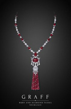 Graff's Master Craftsmen showcase the expertise required to create an exquisite jewel from rows of uniformed beads within this ruby and diamond tassel necklace, incorporating an entrancing central ruby cabochon.