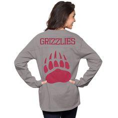 aa9c08134b3f Montana Grizzlies Pressbox Women's The Big Shirt Oversized Long Sleeve T- Shirt - Gray