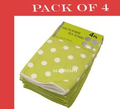 NEW MICROFIBRE POLKA DOT DESIGN TEA TOWELS (PACK OF 4) IN 8 BEAUTIFUL COLOURS   eBay