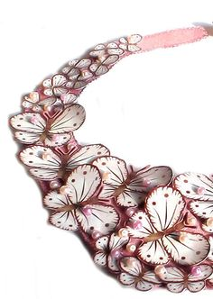 Bridal Bib Necklace Pale Pink with Butterflies by lovisetto on Etsy https://www.etsy.com/listing/73802363/bridal-bib-necklace-pale-pink-with