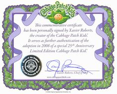 cabbage patch kid birth certificate template - cabbage patch on pinterest cabbage patch kids cabbage