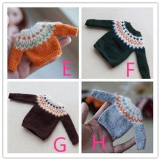 Multicolored Blue Disney Themed Mini  Hand Knit Sweater Christmas  Ornament