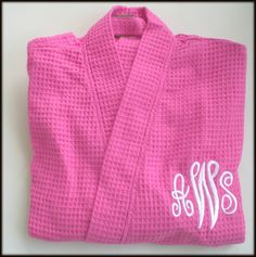 Four Pink Monogram Robe Wedding Party Gift by HappilyEverAfterXOXO,